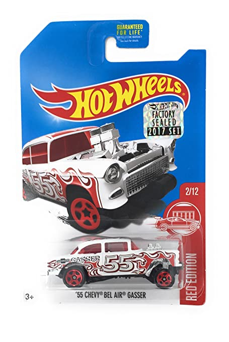 Amazoncom Hot Wheels 2017 Red Edition 55 Chevy Bel Air Gasser 2