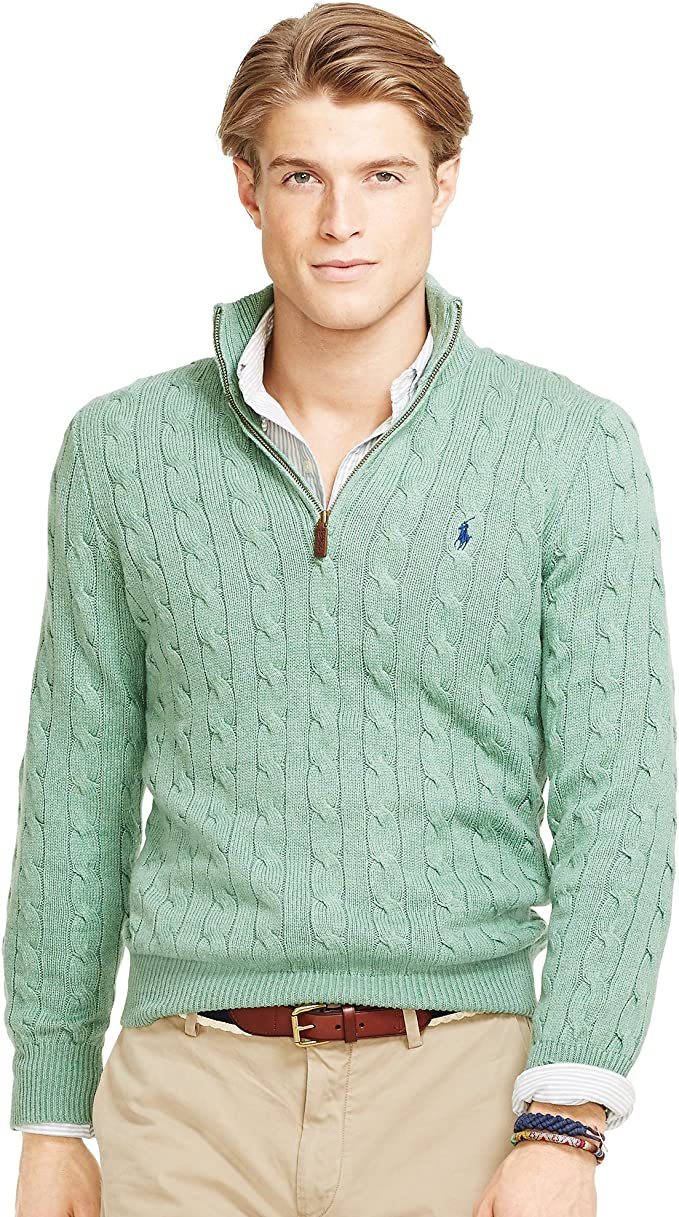 Polo Ralph Lauren Hombre Cable-Knit Tussah Seda Jersey - Verde ...