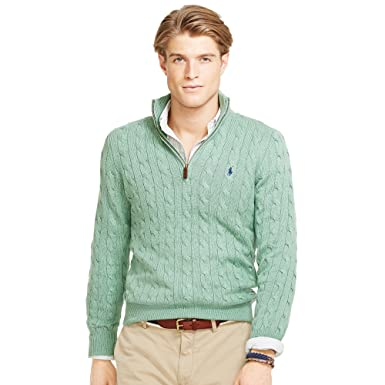 Polo Ralph Lauren Mens Cable-Knit Silk Half-Zip Sweater (X-Large, Mint  Green) at Amazon Men\u0027s Clothing store: