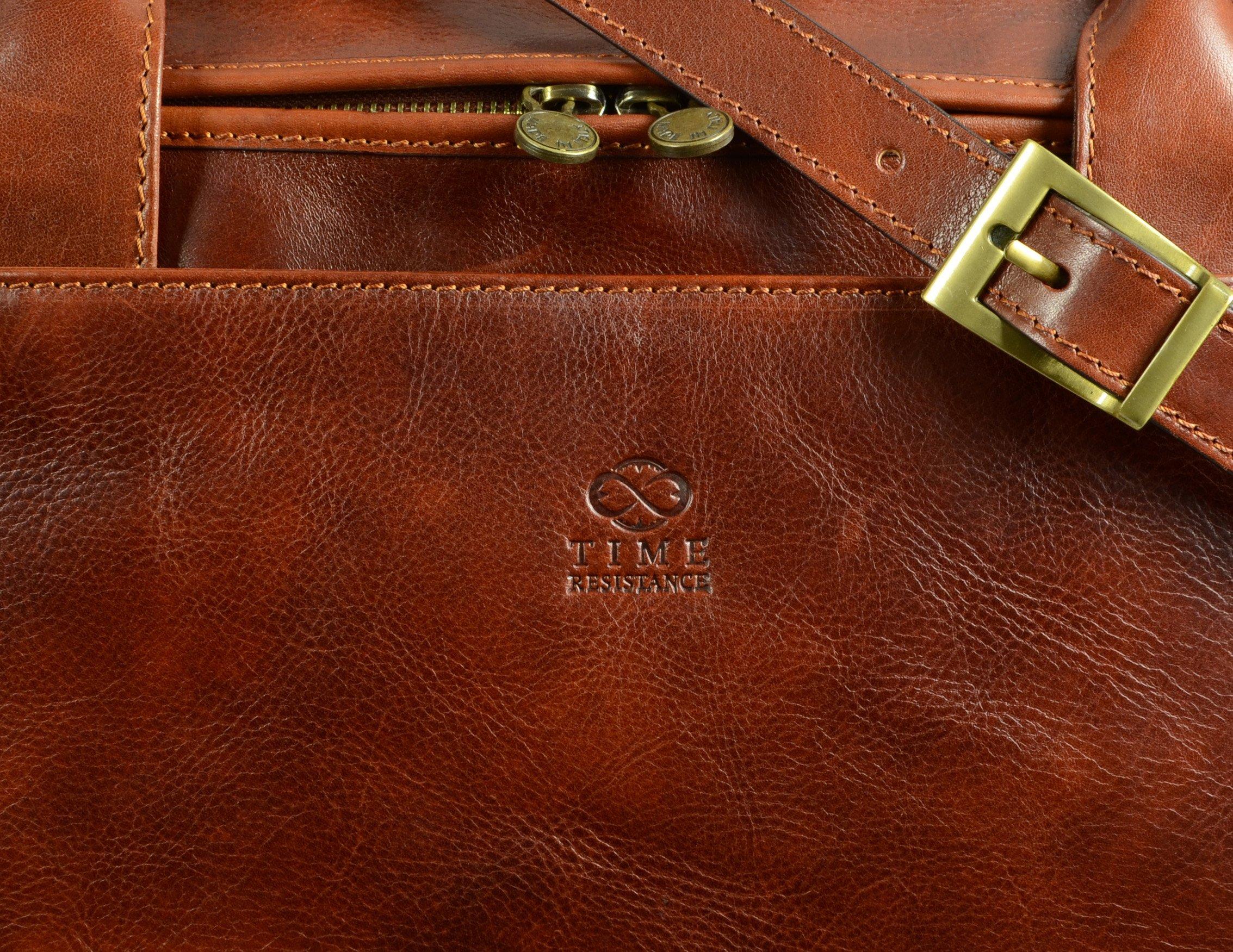 Leather Duffel Bag, Weekend Bag, Gym, Large Travel Bag, Cognac, Brown - Time Resistance by Time Resistance (Image #4)