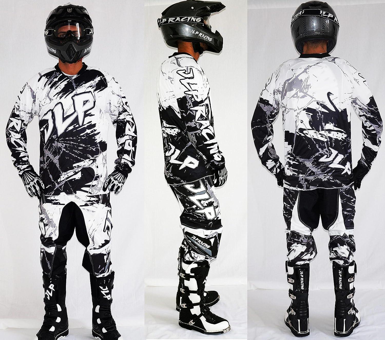 Tenue Enfant 5/6 Ans Moto Cross Quad VTT BMX MTB Pantalon Gants Maillot Blanc JLP Racing Taille 22US/M