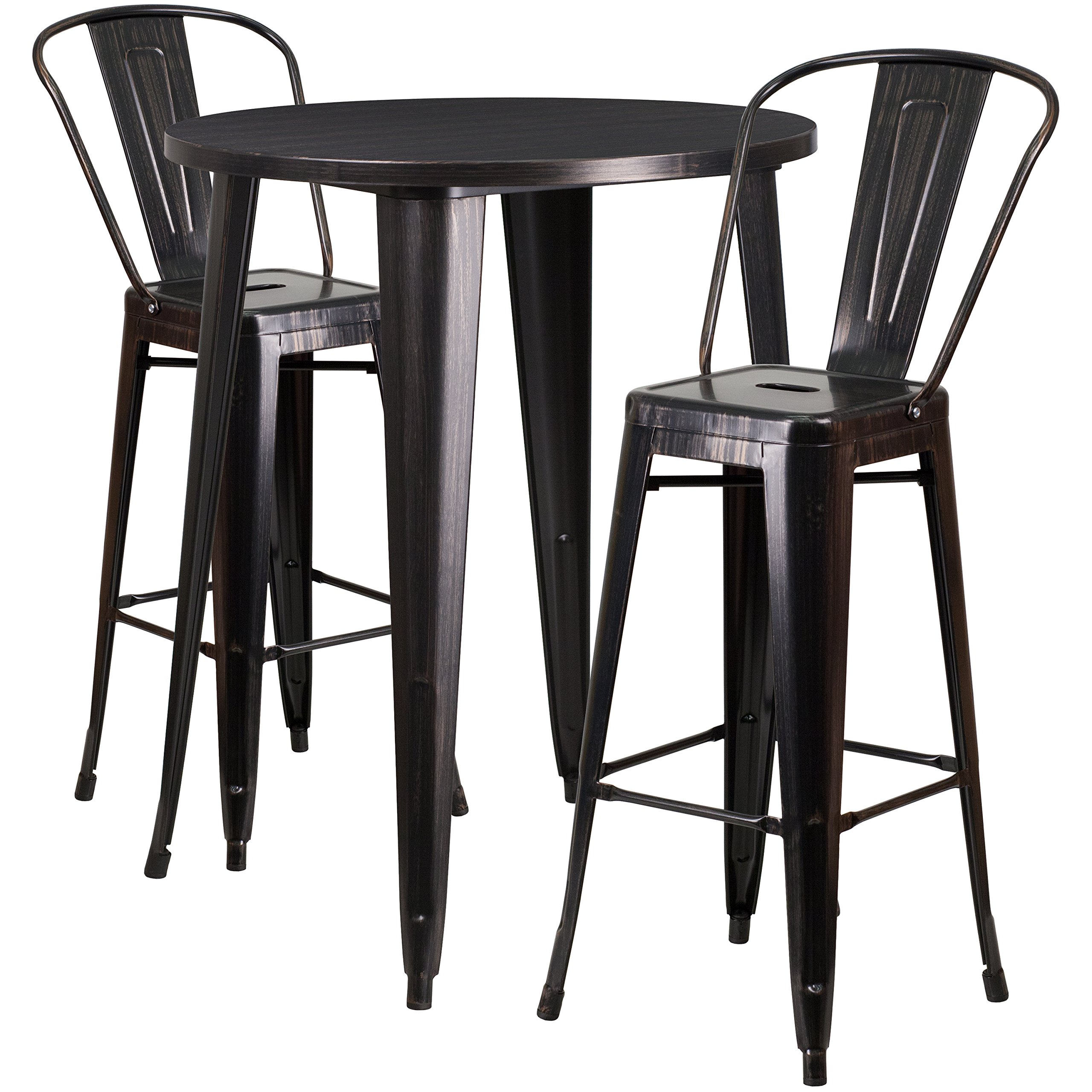 Flash Furniture 30'' Round Black-Antique Gold Metal Indoor-Outdoor Bar Table Set with 2 Cafe Stools
