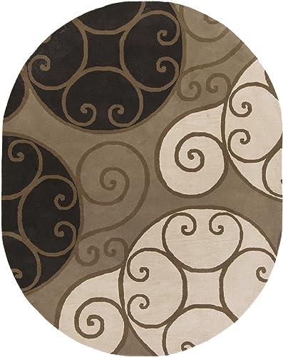 Surya Athena ATH-5111 Contemporary Hand Tufted 100 Wool Brindle 8 x 10 Oval Geometric Area Rug