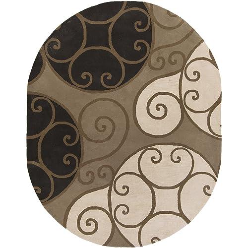 Surya Athena ATH-5111 Contemporary Hand Tufted 100 Wool Brindle 6 x 9 Oval Geometric Area Rug