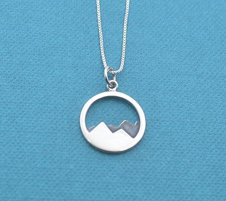 Mountain range pendant in sterling silver on sterling silver 18