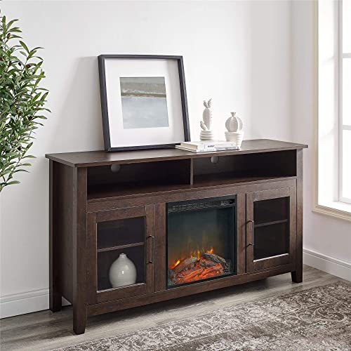WE Furniture 58 Highboy Fireplace TV Stand Console – 58 x 16 x 32h Traditional Brown