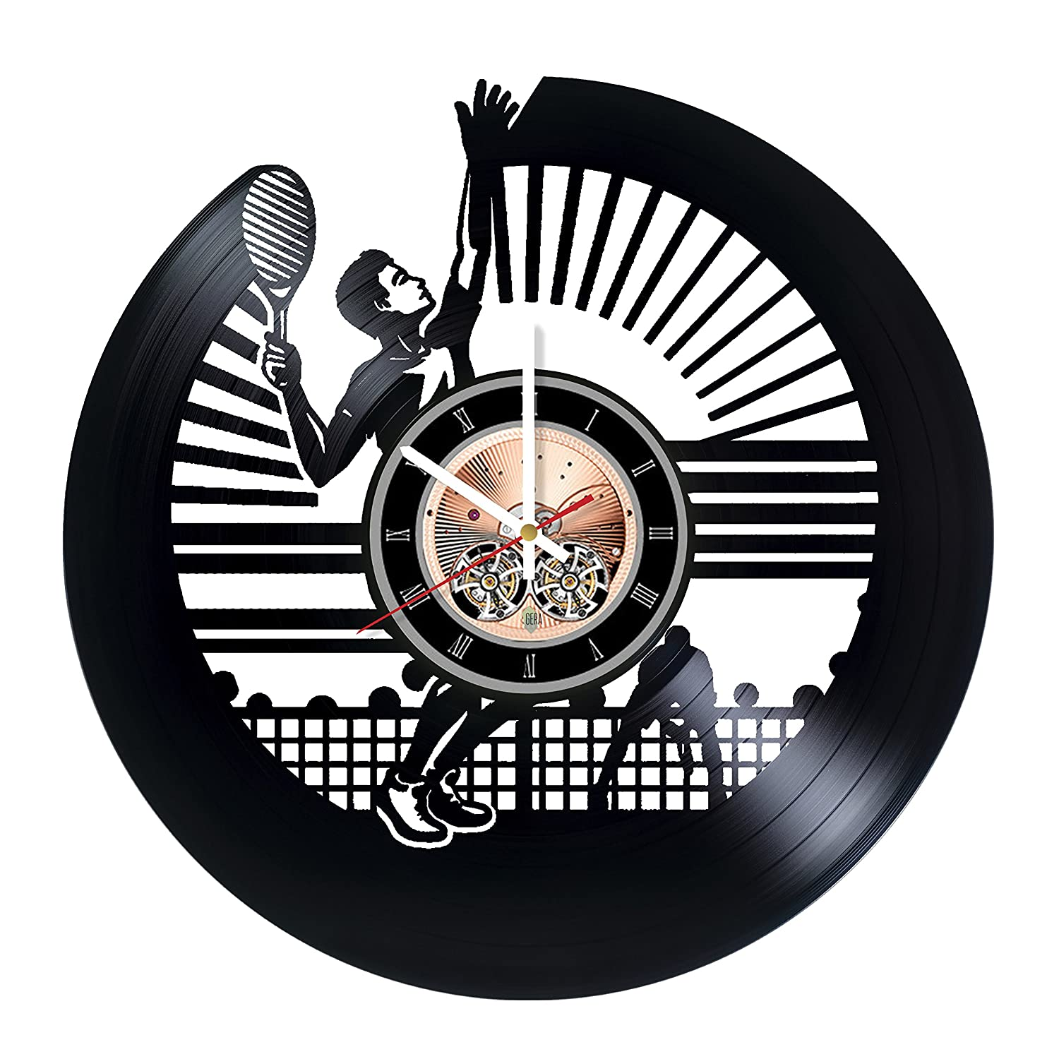 boys and girls Sport Unique Art Design choma Tennis Vinyl Record Wall Clock Living Room or Garage wall decor Gift ideas for friends teens