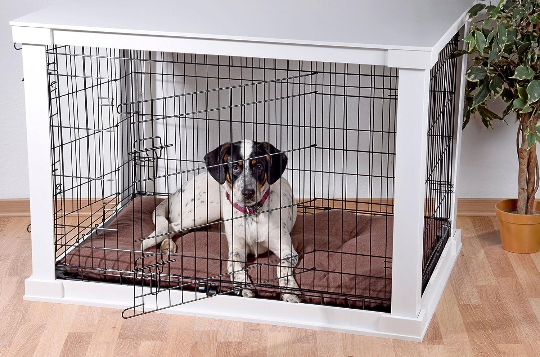 dobar 15 Perros Jaula Grande de Madera con Superficie de Mesa para  Interior, Perros Box Indoor, L, Color Blanco