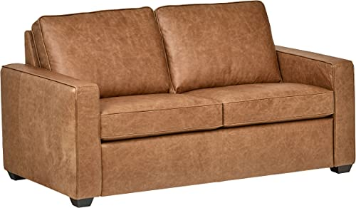 Amazon Brand Rivet Andrews Contemporary Top-Grain Leather Sofa
