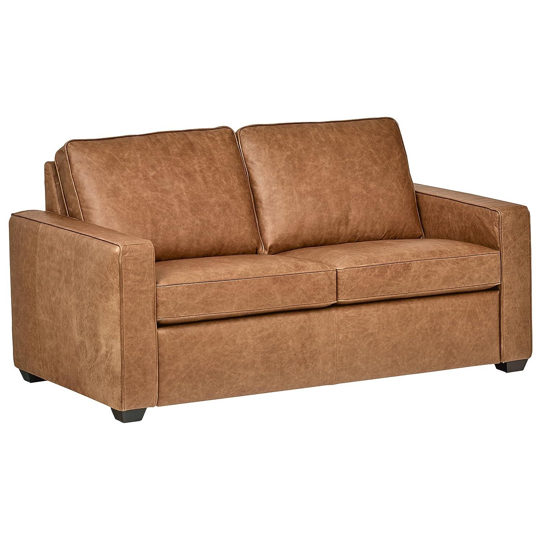 "Rivet Top-Grain Leather Sofa – Andrews, Modern Classic, 67"" W, Cognac"