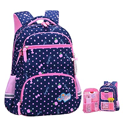 Girls Backpacks for Elementary, Polk Dots School Bag for Kids Primary Bookbags (Girls Backpacks for Elementary Navy Blue, Small for Grade 1-3): Clothing