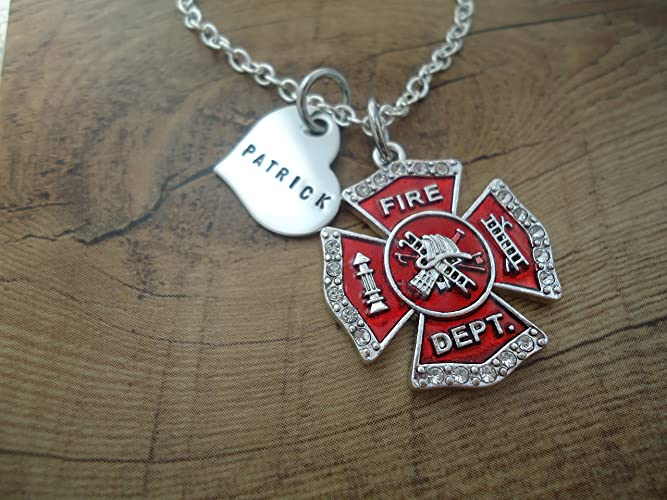 Amazon personalized firefighter necklace with name heart and personalized firefighter necklace with name heart and fireman maltese cross i love my firefighter aloadofball Choice Image
