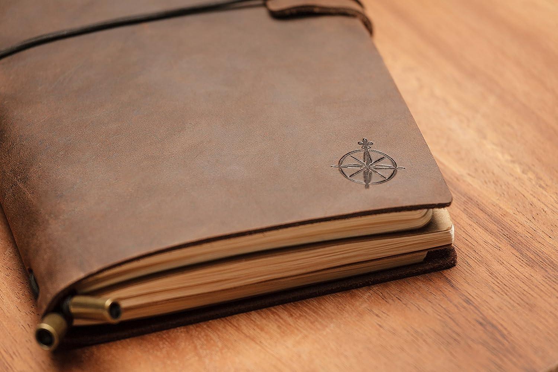 Reisende Reisetagebuch Schreiben Dichter Leereins/ätze Nachf/üllbares Terminplaner Leather Journal Tagebuch 22 x 12cm Perfektes Geschenk f/ür M/änner oder Frauen Notizbuch Leder