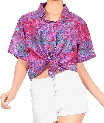 HAPPY BAY Classic Collar Button UP Hawaiian Shirt V Neck Shirts for Women