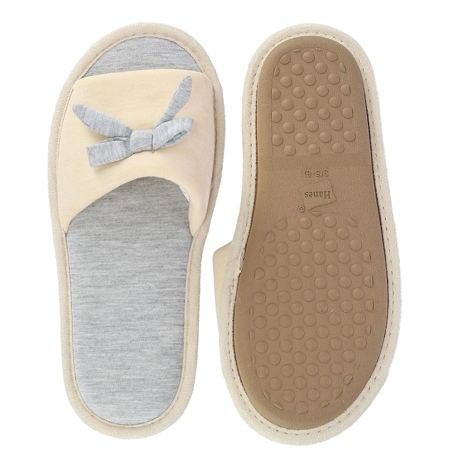 39e7cf739 Amazon.com | Hanes Women's Heather Jersey Open Toe Slide Slipper with Bow |  Slippers