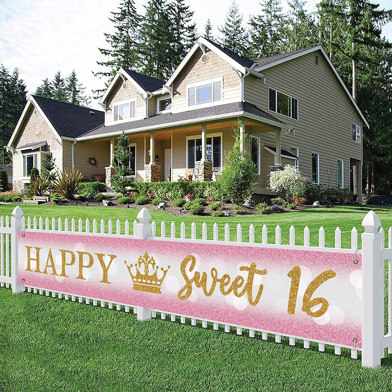Large Happy Sweet 16 Banner, Happy 16th Birthday Yard Sign, 16th B-Day Lawn Sign, 16th Birthday Party Indoor Outdoor Backdrop 9.8 x 1.6 Feet