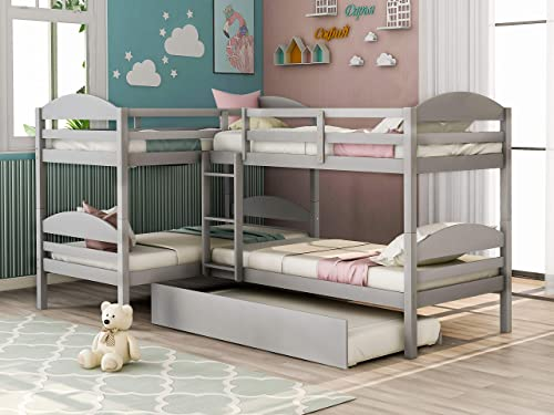 Harper Bright Designs Twin L-Shaped Bunk Bed