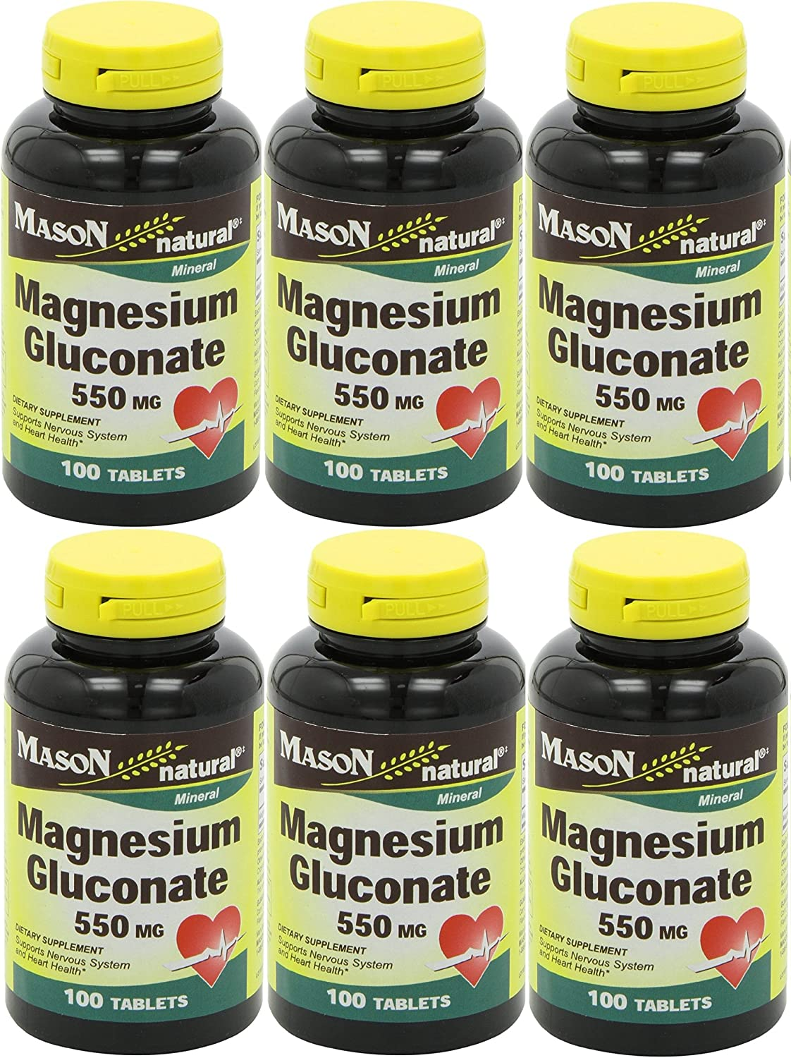 Mason Vitamins Magnesium Gluconate 550 mg Tablets for Support of Nervous System Heart Health* 100 Tablets per Bottle Pack of 6 Total 600 Tablets