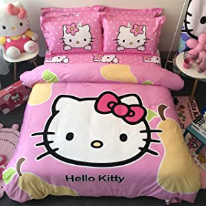 Casa 100% Cotton Kids Bedding Set Girls Hello Kitty Duvet Cover and Pillow Cases and Fitted Sheet,4 Pieces,Queen