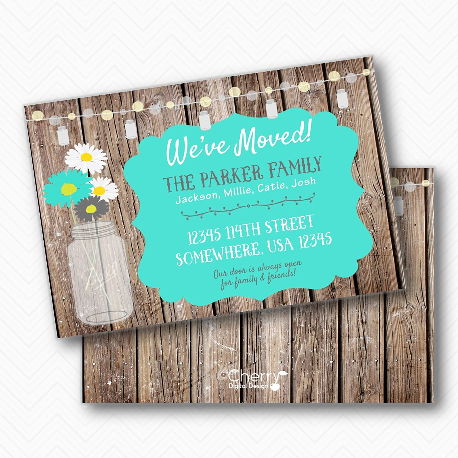 Amazon rustic moving announcement printed mason jar daisy amazon rustic moving announcement printed mason jar daisy moving announcements envelopes included handmade stopboris Image collections
