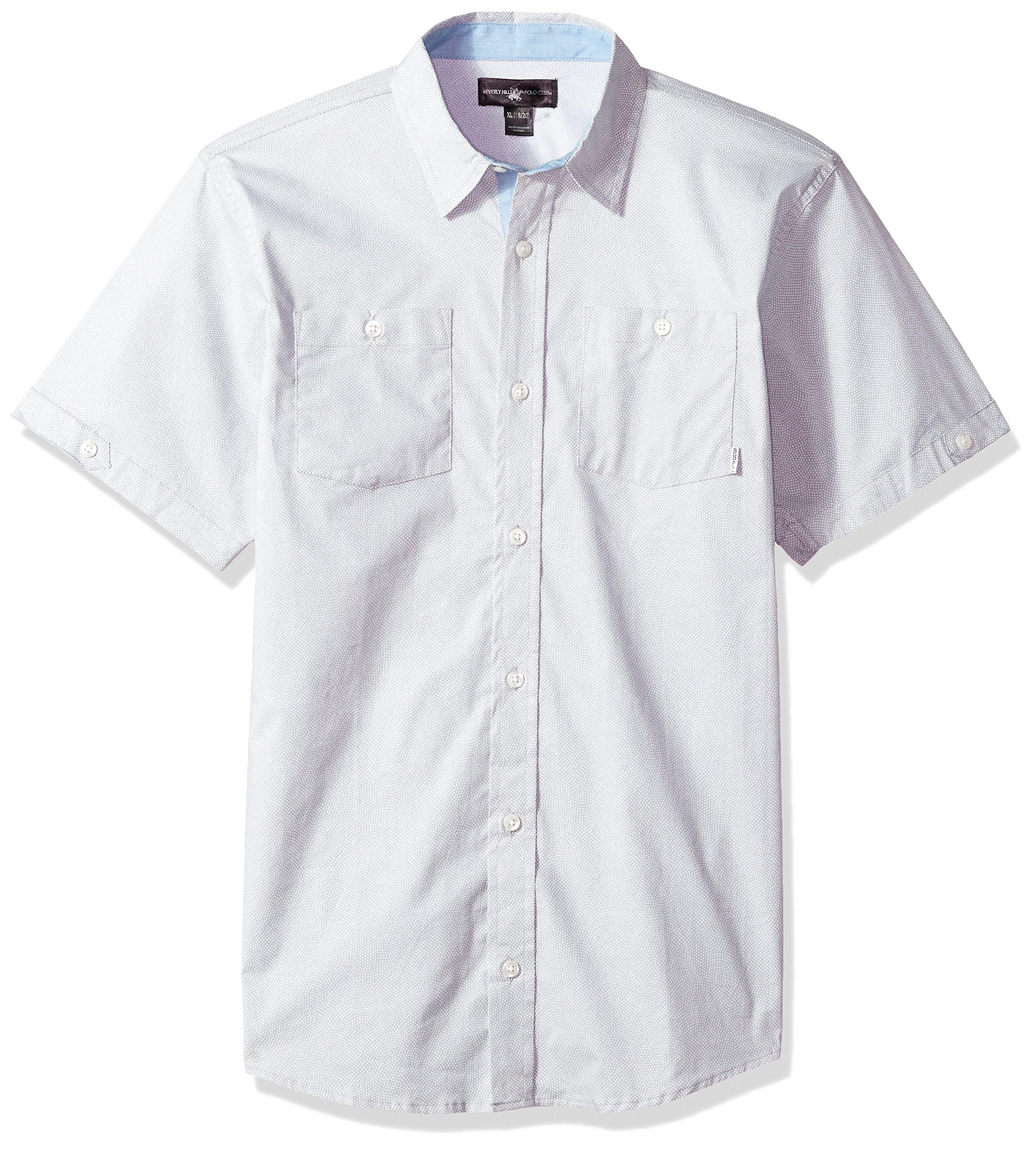 Beverly Hills Polo Club Big Boys' Short Sleeve Shirt, Grey, 14/16