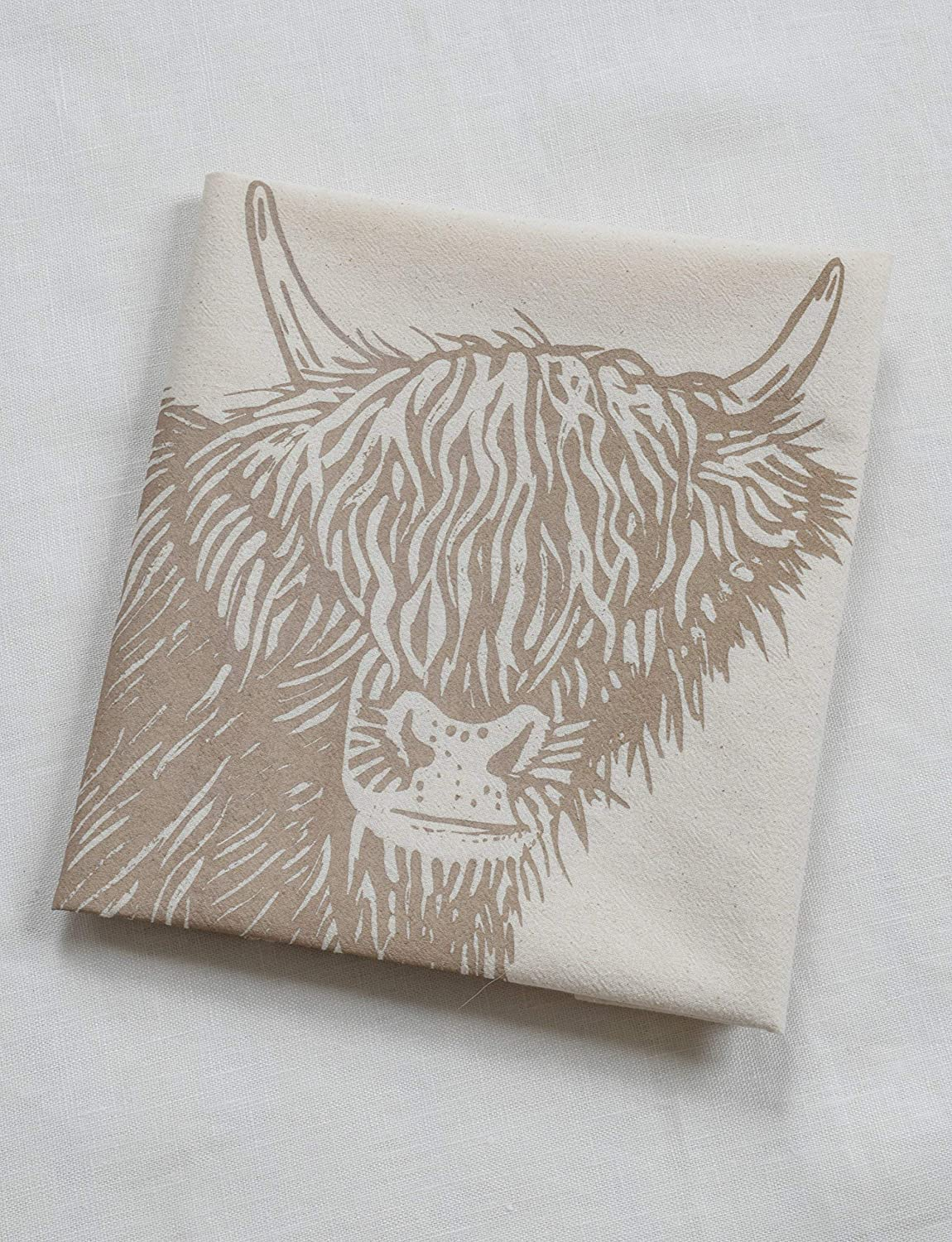 Cow Tea Towel - Organic Flour Sack Cotton - Scottish Highland Cow - Mocha Brown Print