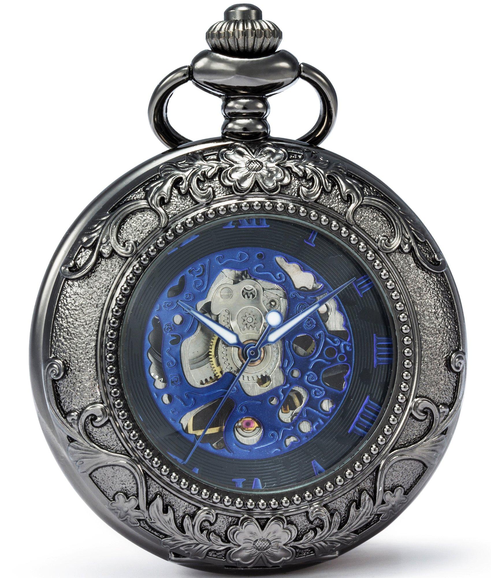 SEWOR Vintage Magnifier Skeleton Pocket Watch Mechanical Hand Wind Pocket Watch Include Brand Leather Box (Black)