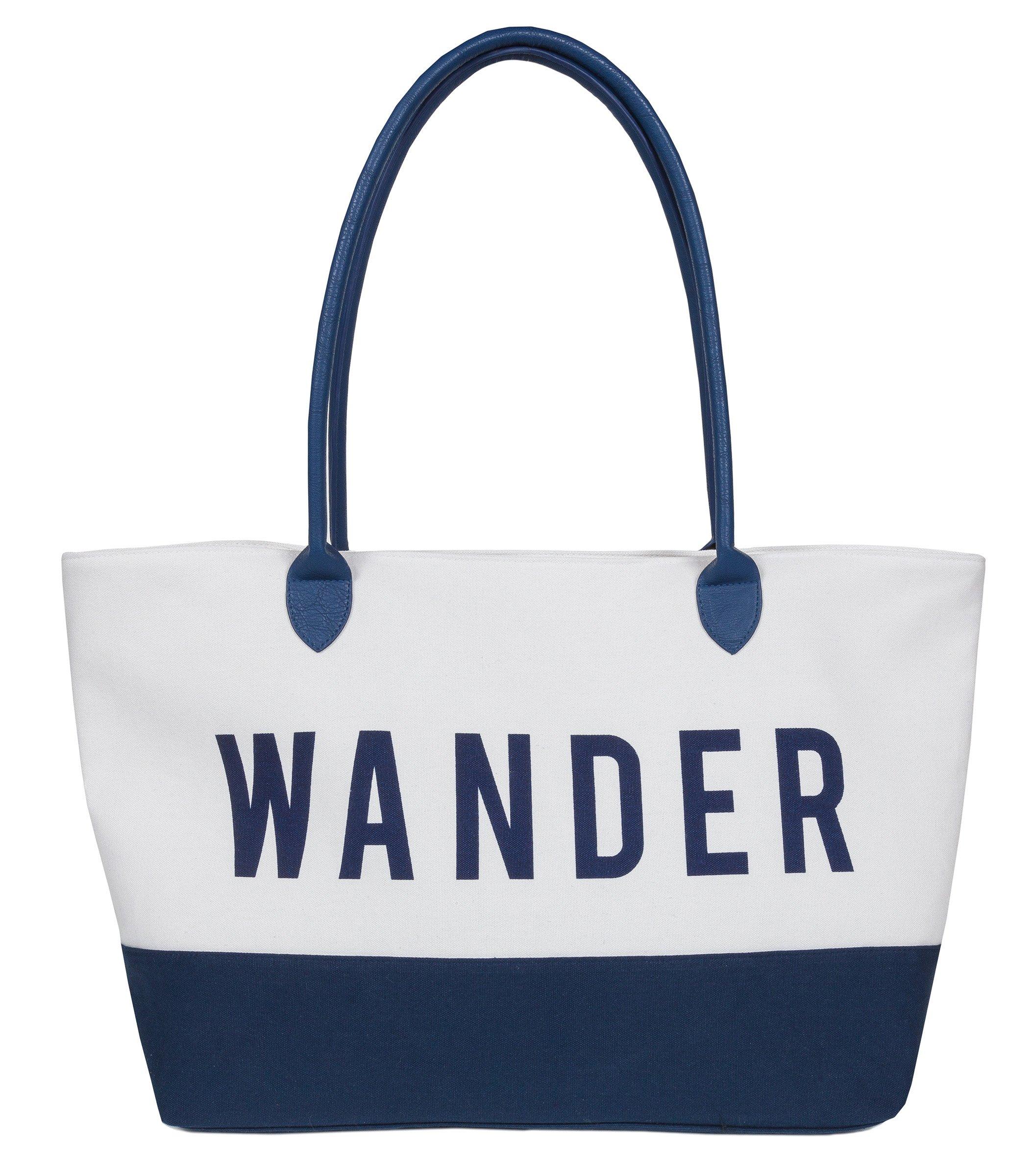 XL Large Women's Cotton Canvas Wander Zipper Tote Bag, Travel, Weekend, Beach, Carry On