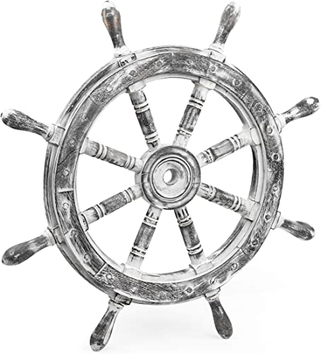 Nagina International Nautical Rustic Wall Decorative Ship Wheel