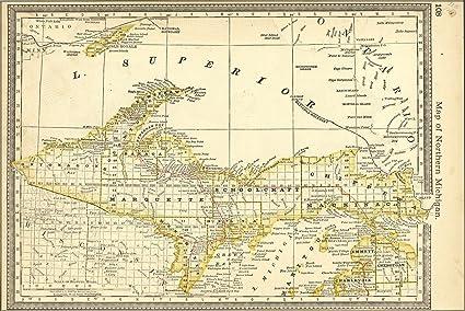 Amazon.com : 16x24 Poster; Map Of Upper Peninsula Michigan ... on county map of upper michigan, map of upper peninsula michigan, map upper peninsula mich, map of upper mi,