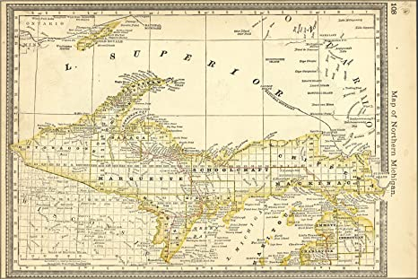 Amazon Com 24x36 Poster Map Of Upper Peninsula Michigan 1881