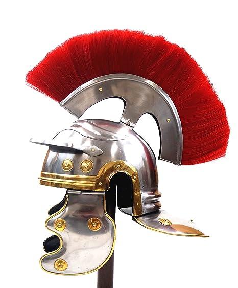 Roman Centurion Helmet w/ Red Plume Armor Gladiator New
