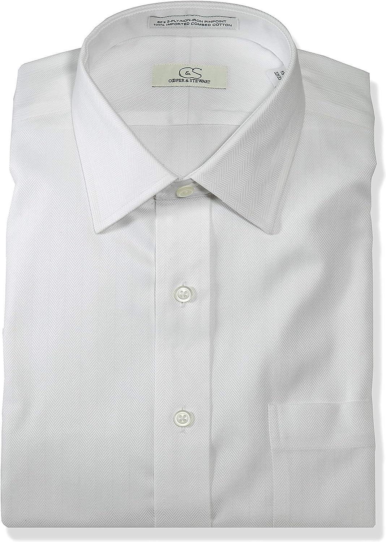 Cooper And Stewart Non Iron Herringbone Dress Shirt White At