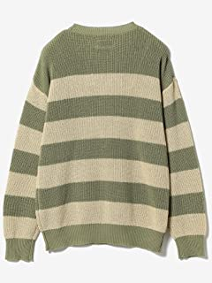 5 Gauge Cotton Rib Crewneck Sweater 11-15-1162-156: Beige / Sage