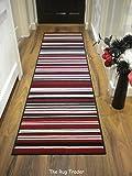 Modern Stripe Rug Red Black Hall Runner 60cm x 220cm by ELEMENT CANTERBURY