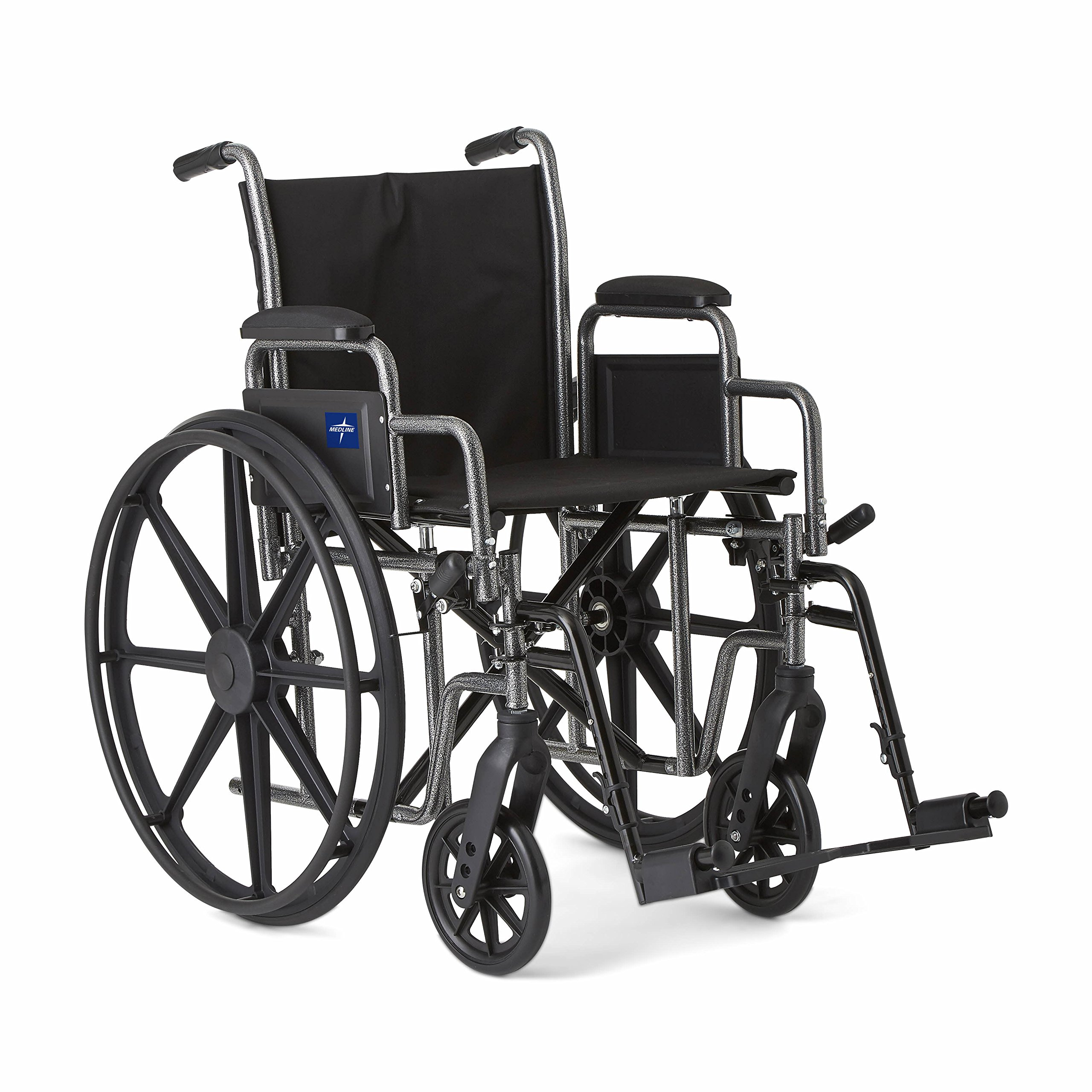 """Medline Strong and Sturdy Wheelchair with Desk-Length Arms and Swing-Away Leg Rests for Easy Transfers, 18"""" Seat"""