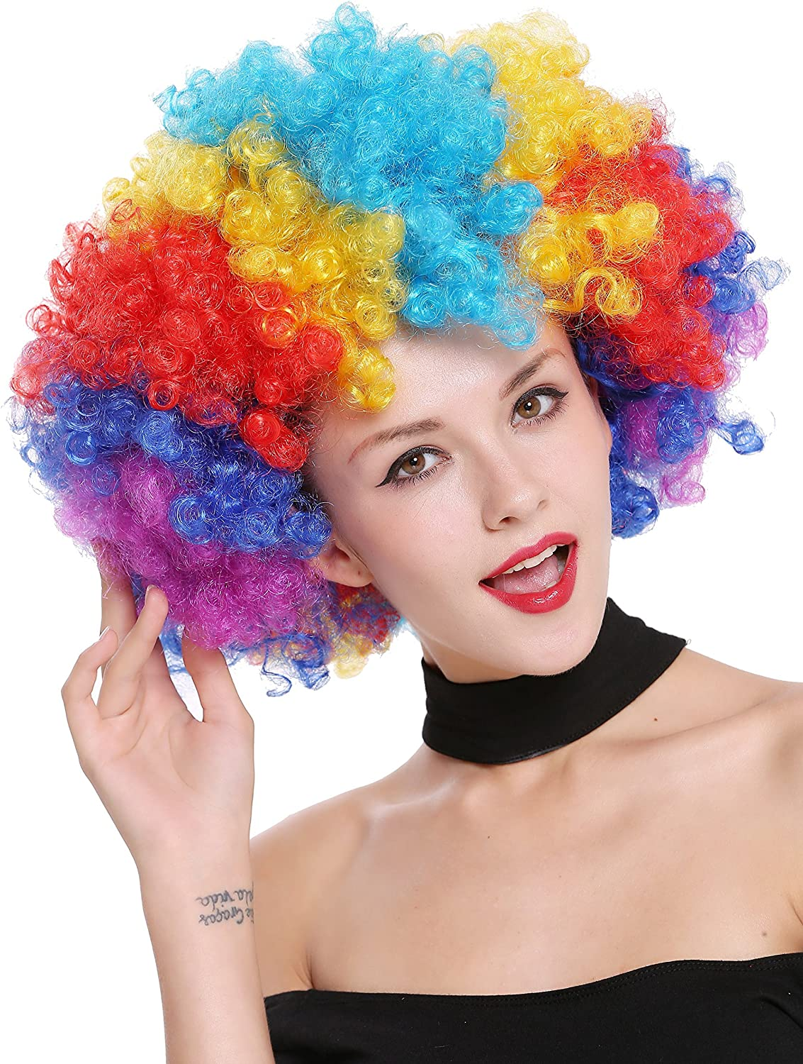 PW0011 Gigantic Afro Party Wig Halloween Rainbow Colours 70s Hippie Disco Clown WIG ME UP /®