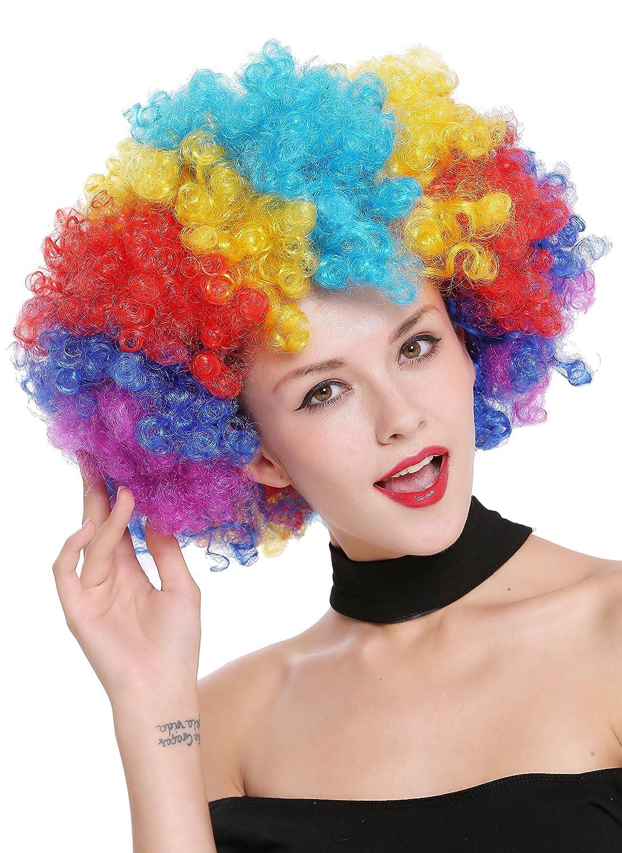 WIG ME UP ® - PW0011 Peluca Afro Gigantesca XXL Carnaval Halloween, Colores del Arco Iris, años 70 Hippie, Disco, Payaso bufón: Amazon.es: Juguetes y juegos