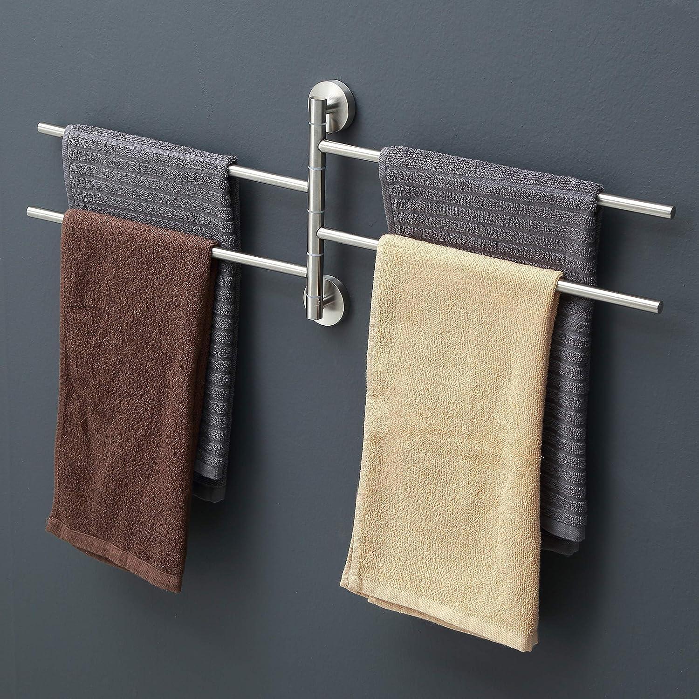 18//8 Stainless Steel 4-Arm Bathroom Wall Mounted Swivel Towel Rack Holder Organizer Naturous Swivel Towel Bar Brushed Finish