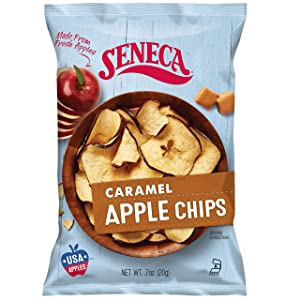 Seneca Caramel Apple Chips | Made from Fresh Apples | 100% Red Delicious Apples | Yakima Valley Orchards | Crisped Apple Perfection | Foil-Lined Freshness Bag | 0.7 ounce (Pack of 24)