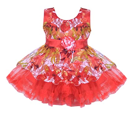 131f134f1d2d1 Prince & Princess Girl's Frock (PP-03_26, Red, 3-4 Years): Amazon.in ...