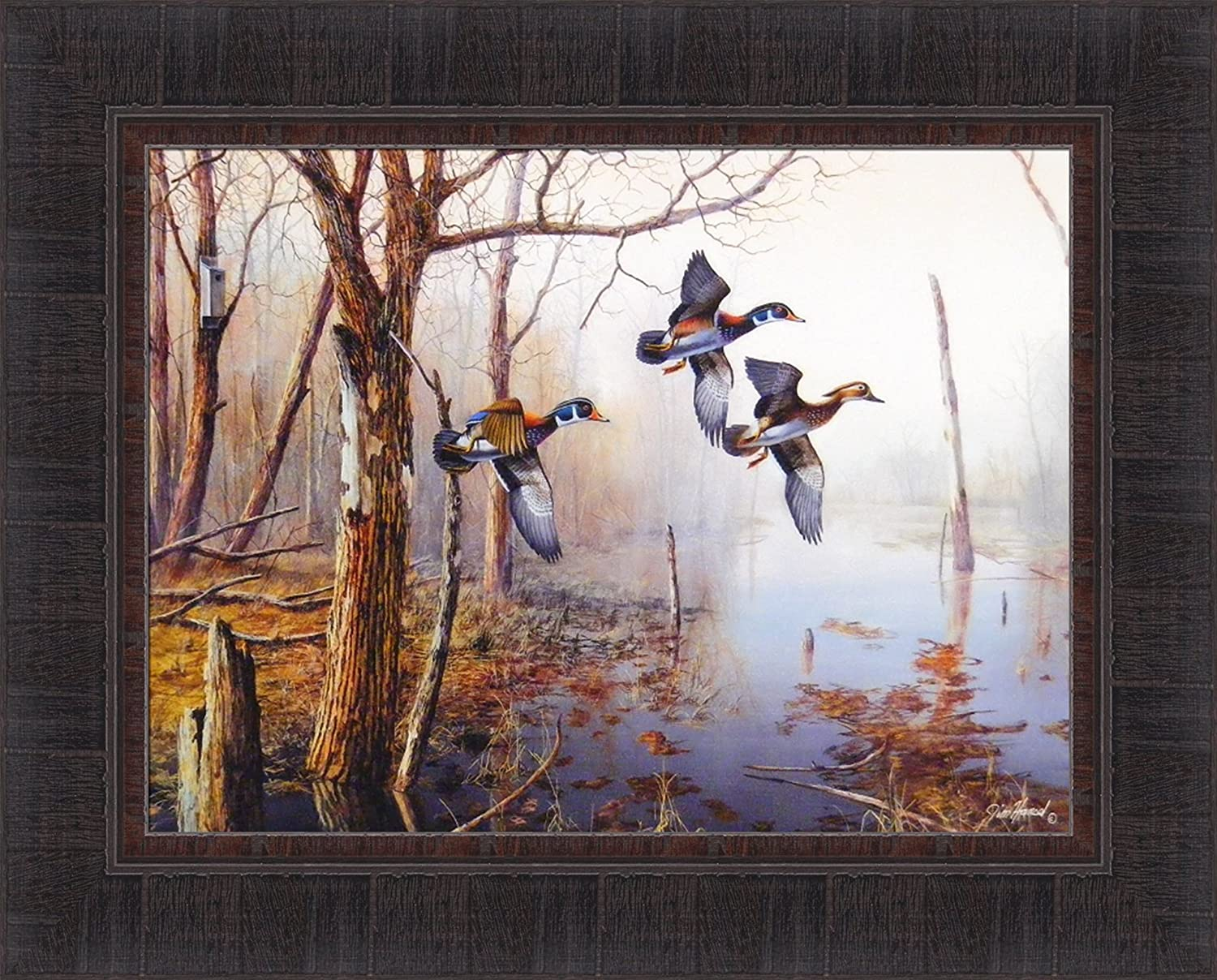 Amazon Com Backwater By Jim Hansel 17x21 Wood Ducks Framed Art Print Wall Decor Picture Duck Pictures For Walls Posters Prints