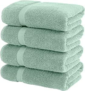 White Classic Luxury Bath Towels Large   700 GSM Cotton Absorbent Hotel Bathroom Towel   27x54 Inch   4 Pack   Green