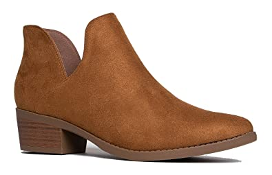 Cute Western Cowboy Bootie - Womens Pointed Toe Slip On Ankle Boot Low Heel