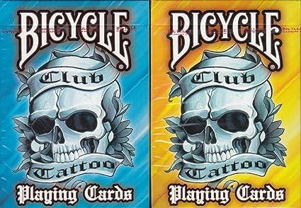 Amazon.com: Club Tattoo bicicleta 2 Deck Set Juego de cartas ...