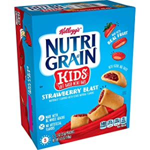 Kellogg's Nutri-Grain Kids, Soft Baked Mini Bars, Strawberry Blast, Good Source of 8 Vitamins and Minerals, 6.5oz Box (Pack of 5, 25 bars)