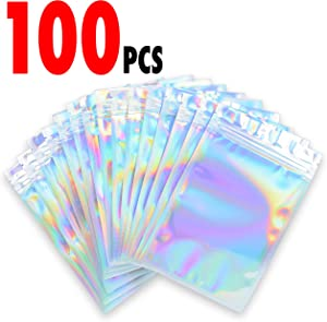 100 Pieces - Resealable Bags for Food Storage, Candy, Spices, and Parties (Holographic Foil Bag Color 3