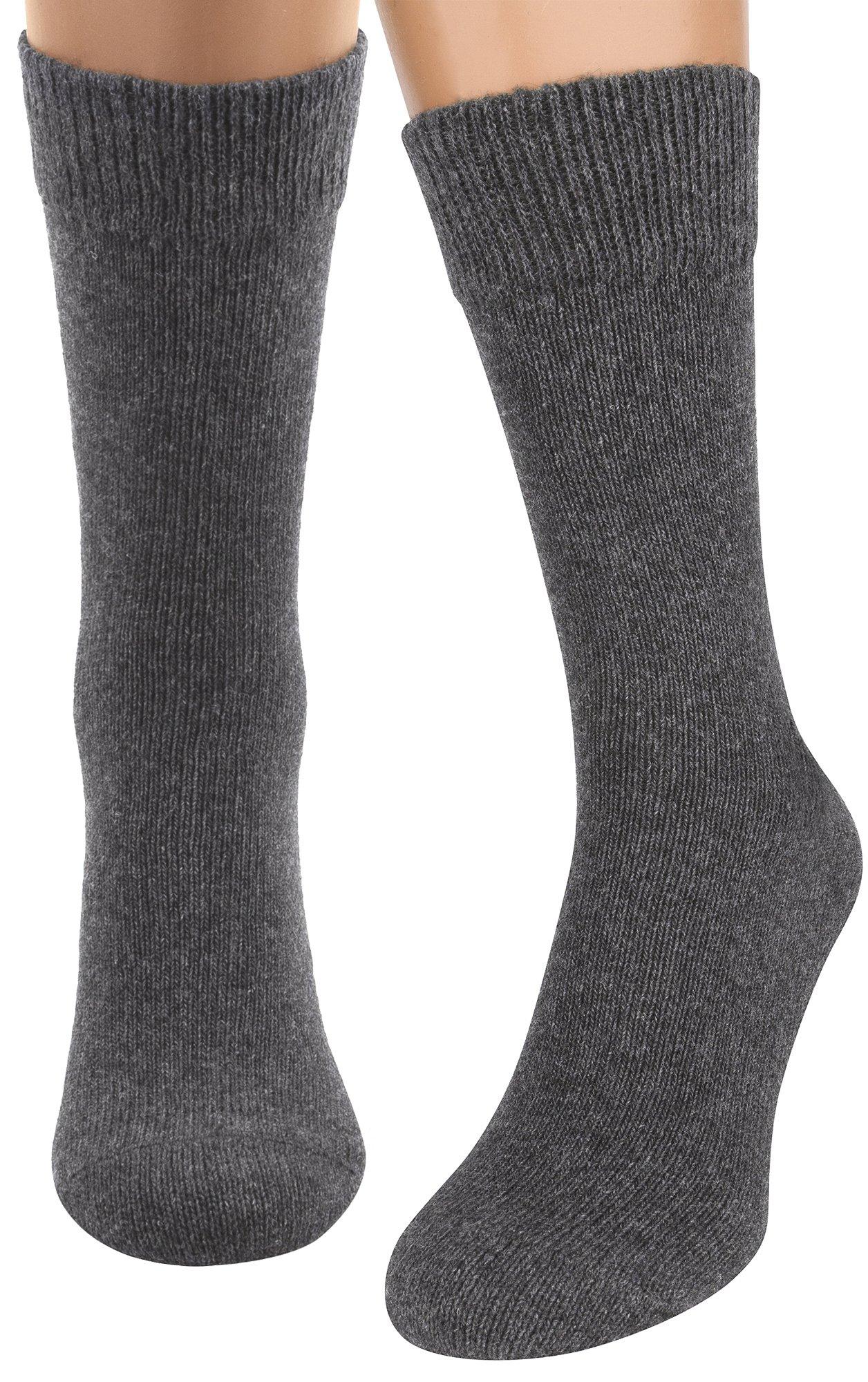 Hiking Trekking Dress Socks, 2 packs Thin Merino Wool Organic Cotton Boot Socks by AIR SOCKS (Grey XL)
