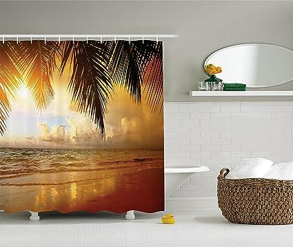 Amazon.com: Ambesonne Ocean Decor Shower Curtain Set, Sunset On The ...