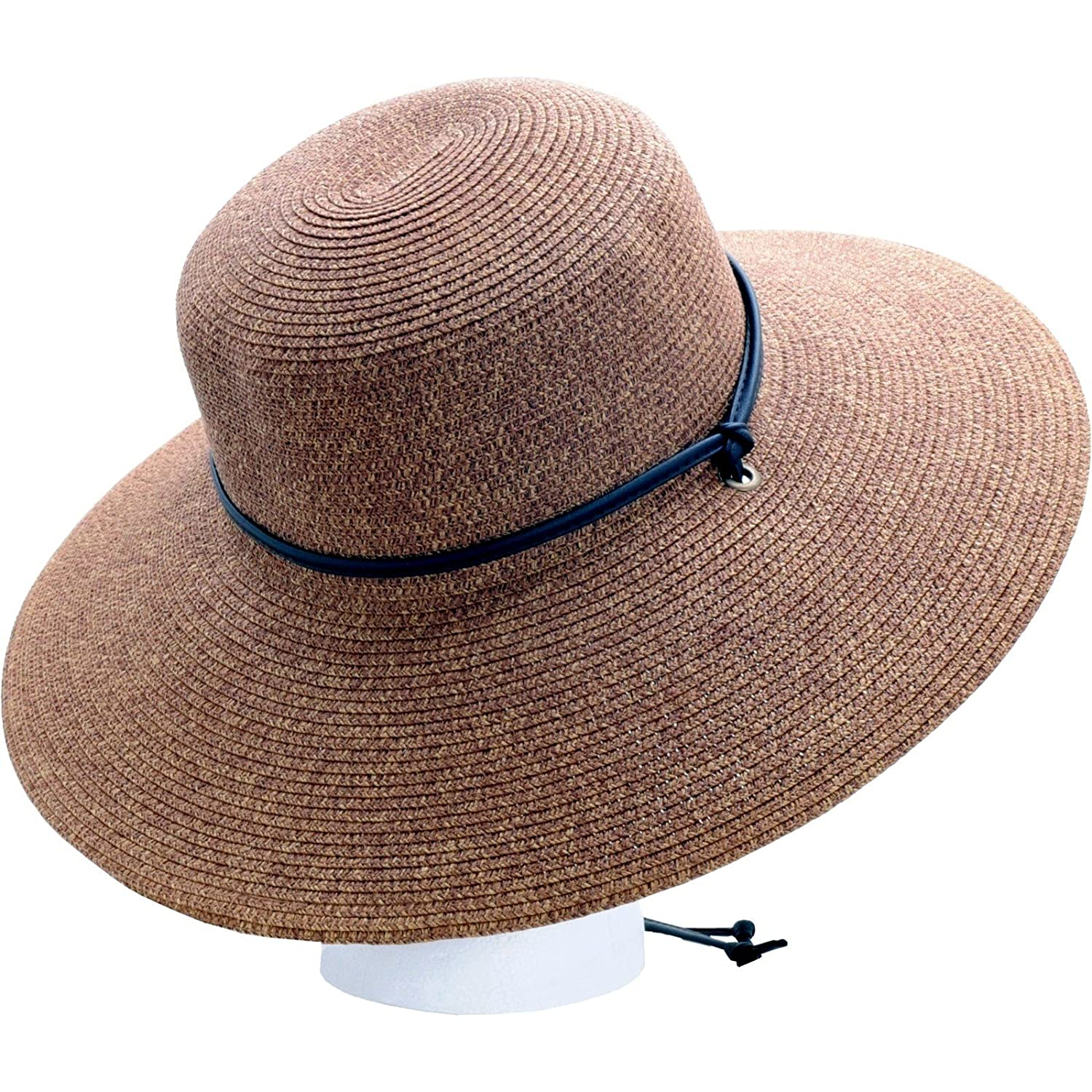 Women's Wide Brim Braided Sun Hat - Dark Brown